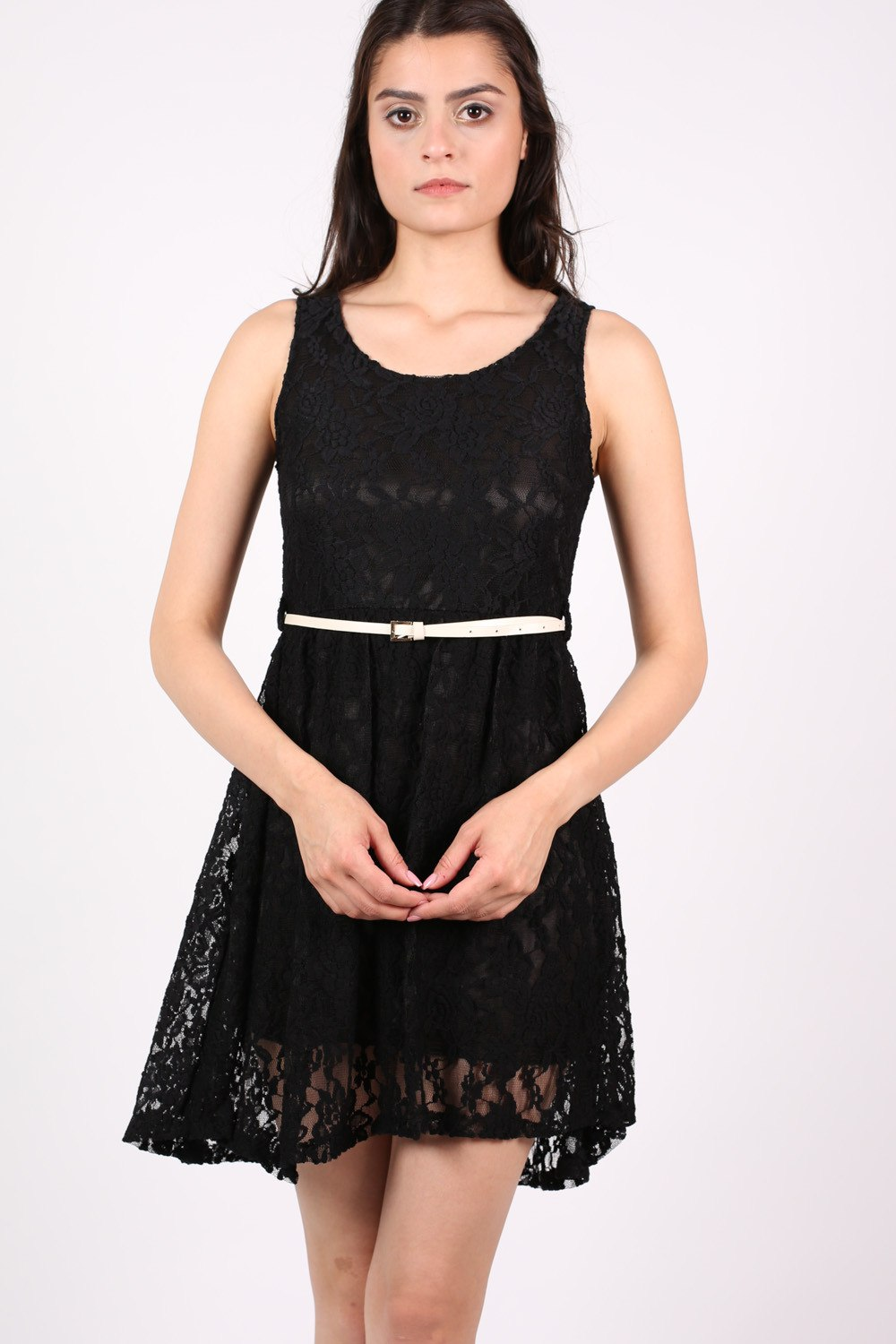 Floaty Lace Sleeveless Skater Dress With Belt in Black MODEL FRONT