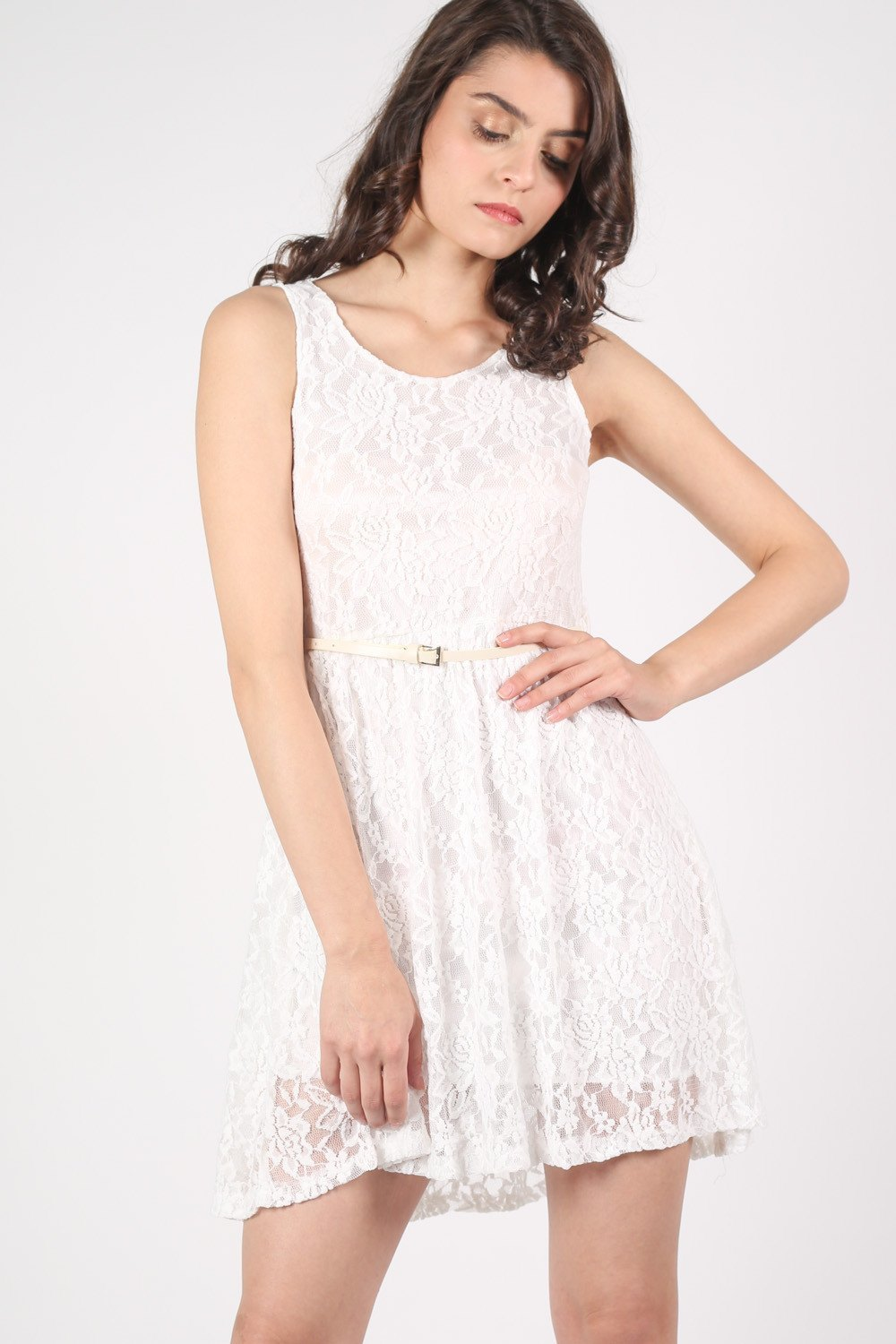 Floaty Lace Sleeveless Skater Dress With Belt in Cream MODEL FRONT