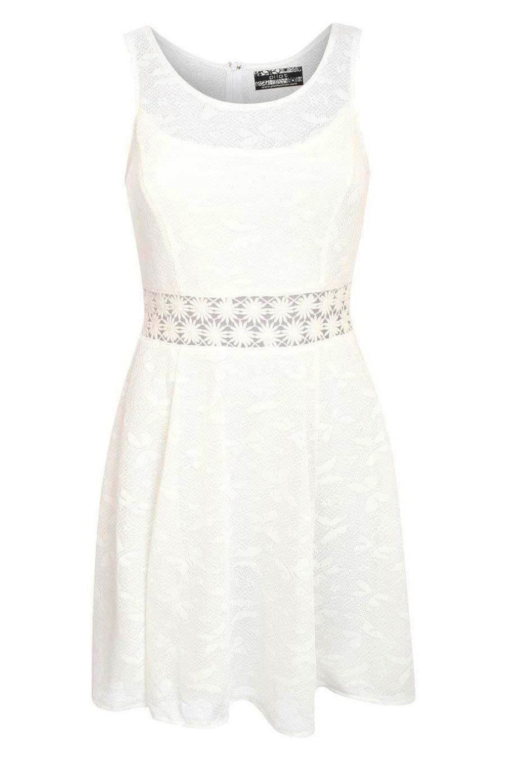 Sleeveless Butterfly Crochet Trim Waistband Skater Dress in White FRONT