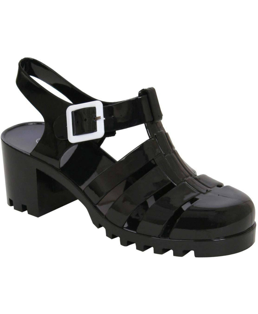 Carolina Block Heel Jelly Sandals in Black FRONT