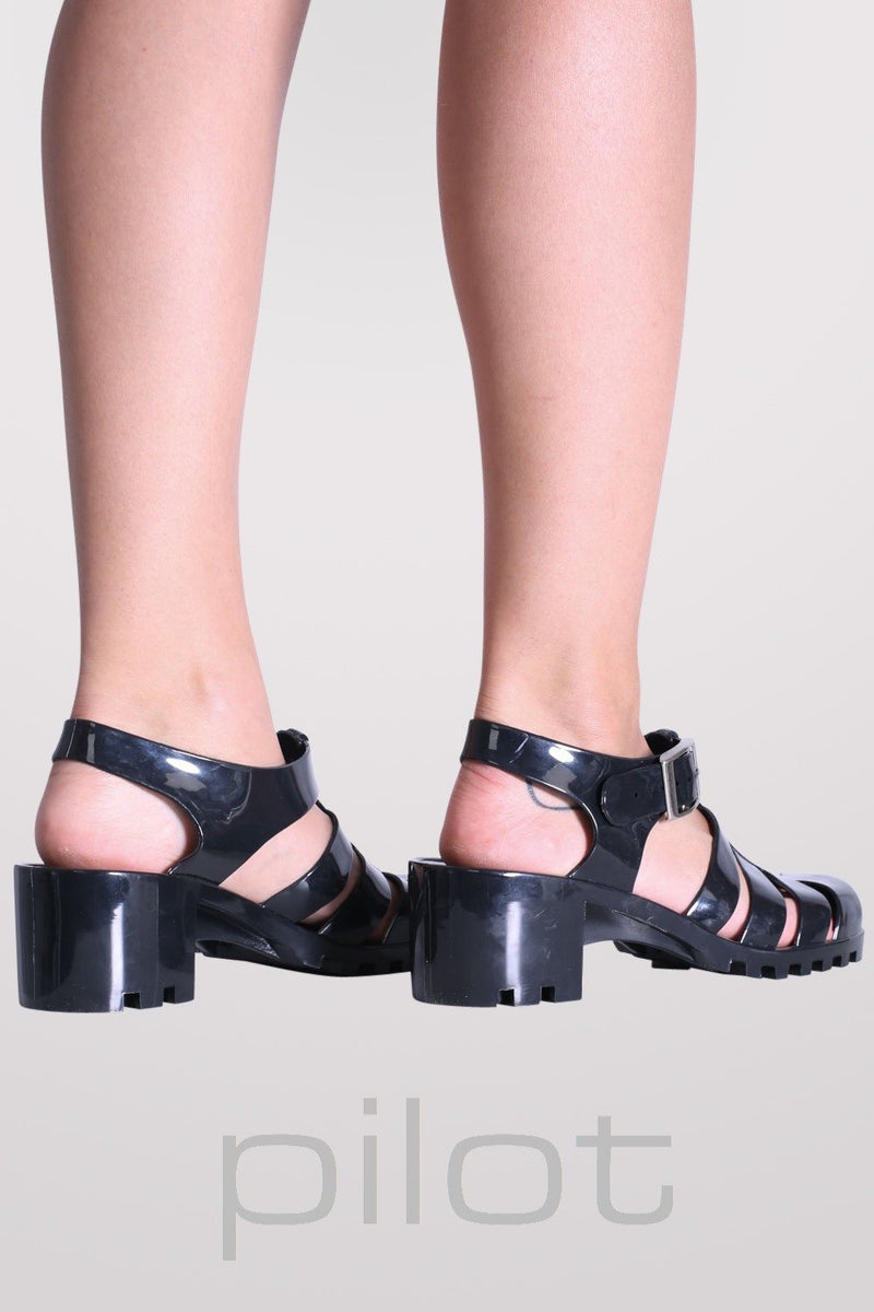Block Heel Jelly Sandals in Black MODEL BACK