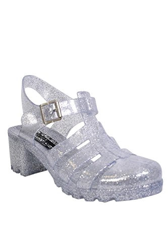 Block Heel Jelly Sandals in Clear Glitter