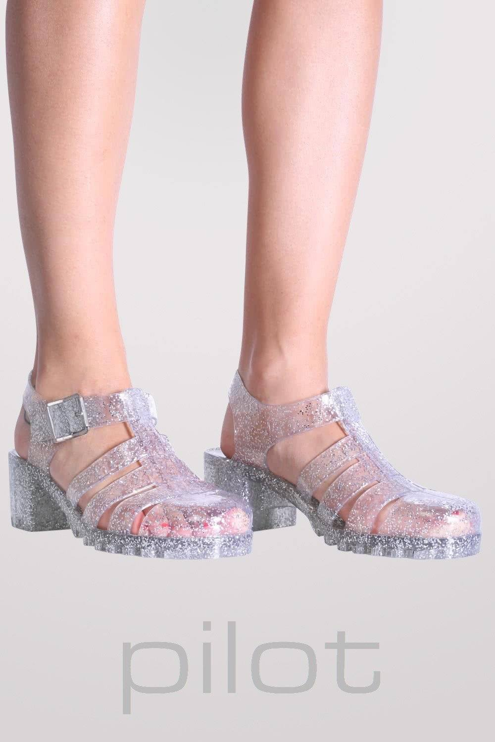Jelly Shoes In Clear Glitter With Block Heels Sandals