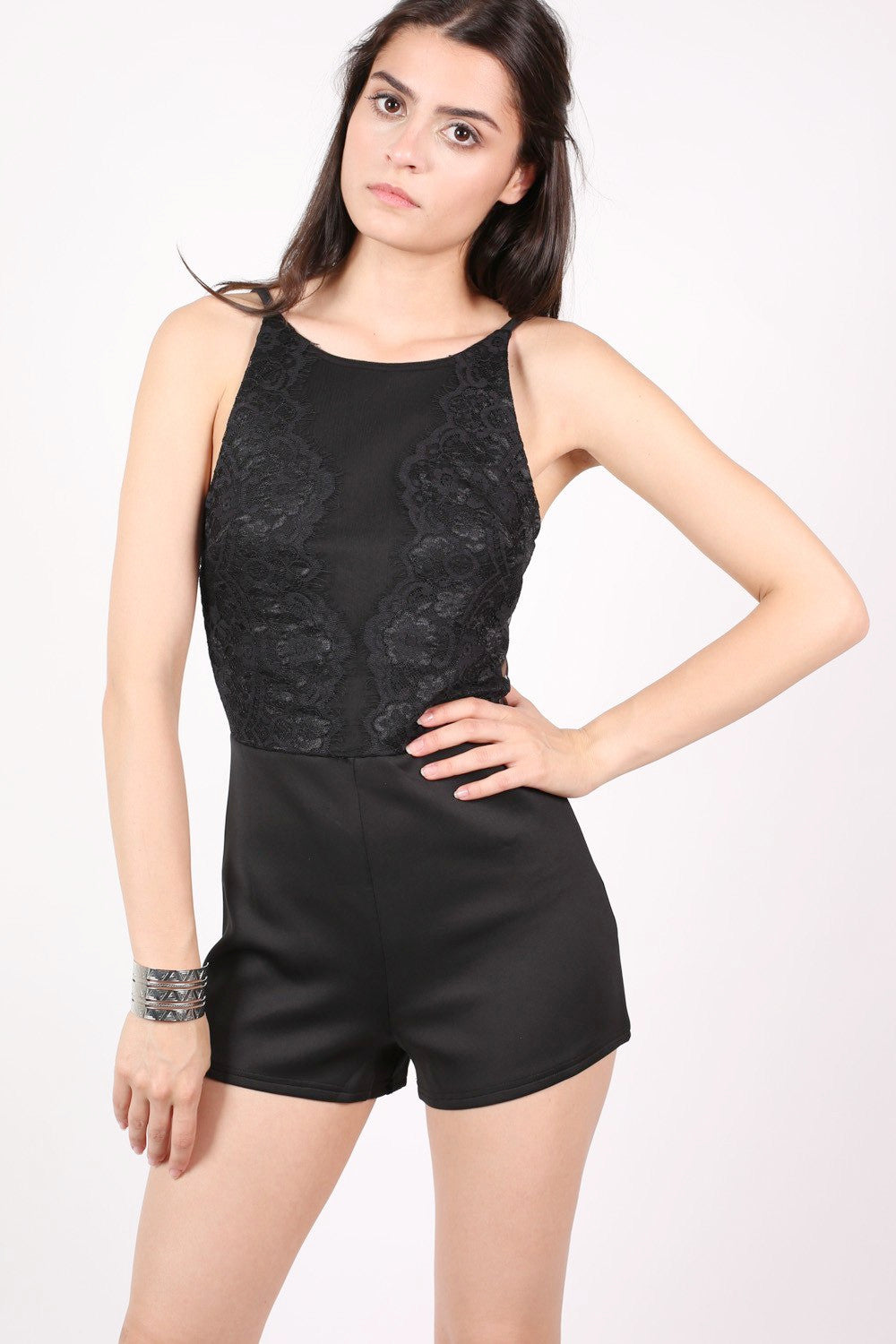 Strappy Lace Detail Playsuit in Black MODEL FRONT
