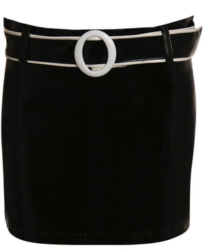 PVC Belted Mini Skirt in Black FRONT