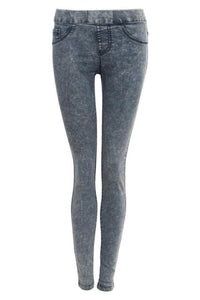 Super Stretch Acid Wash Jeggings in Light Denim FRONT