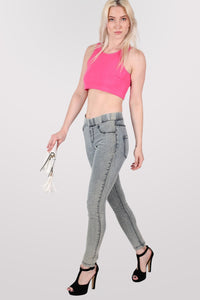 Super Stretch Acid Wash Jeggings in Light Denim MODEL FRONT