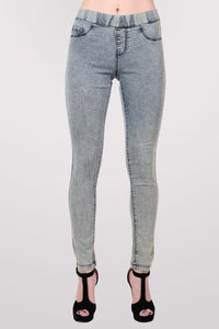 Super Stretch Acid Wash Jeggings in Light Denim MODEL FRONT 2
