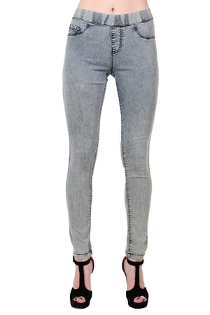 Super Stretch Acid Wash Jeggings in Light Denim