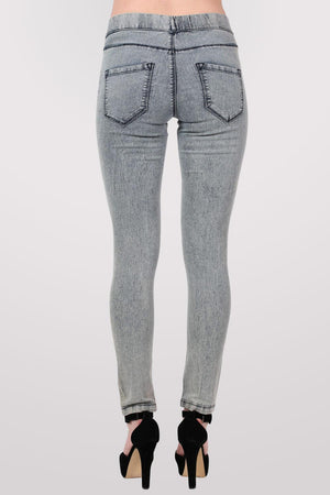 Super Stretch Acid Wash Jeggings in Light Denim MODEL BACK