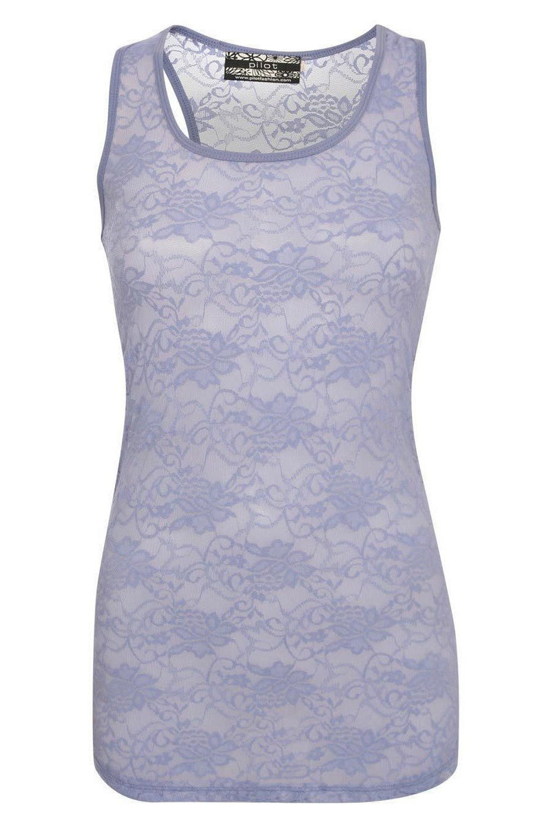 Tania Floral Lace Print Vest Top in Denim Blue FRONT