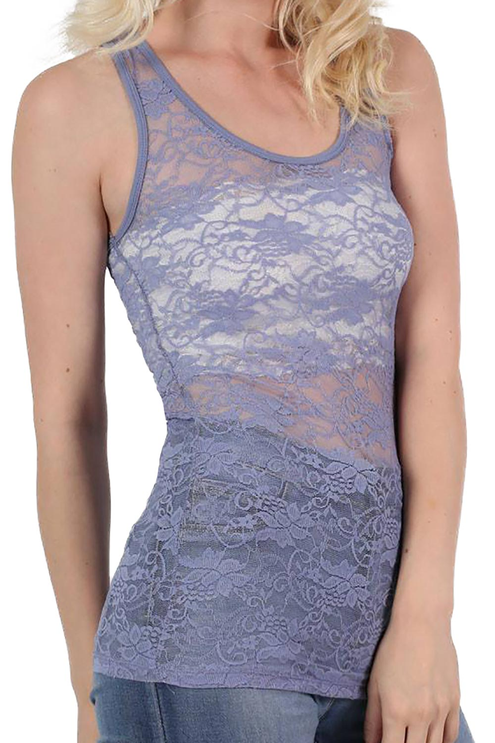 Floral Lace Print Vest Top in Pale Blue