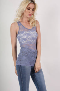 Floral Lace Print Vest Top in Denim Blue MODEL SIDE