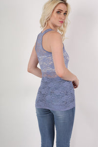 Floral Lace Print Vest Top in Denim Blue MODEL BACK