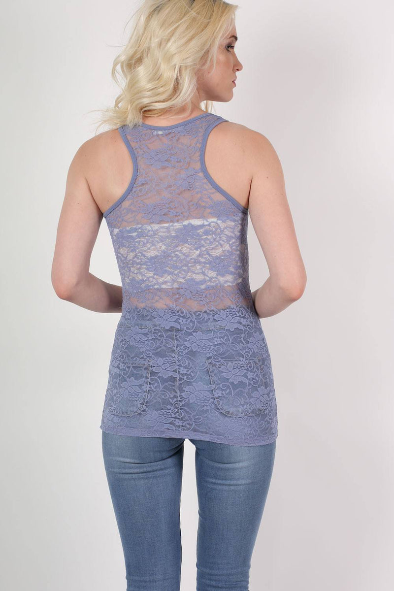 Floral Lace Print Vest Top in Denim Blue MODEL BACK 2