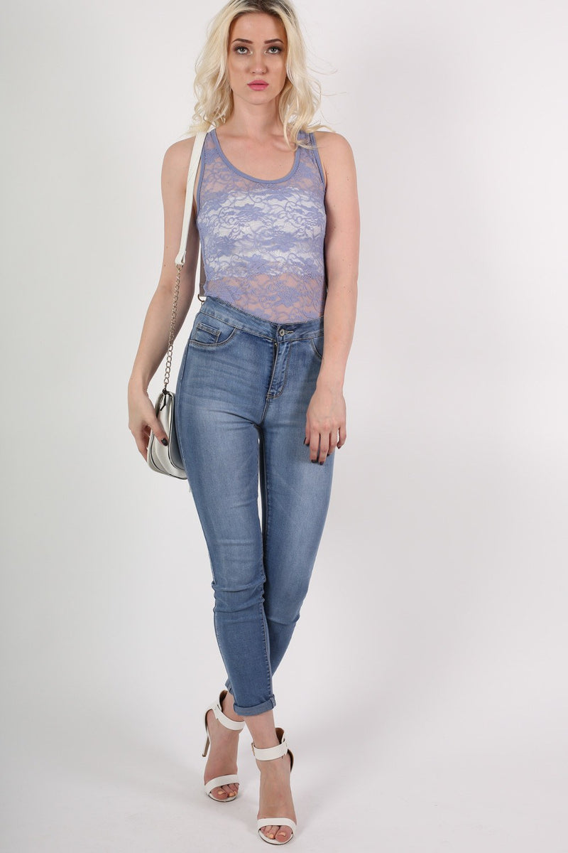 Floral Lace Print Vest Top in Denim Blue MODEL FRONT