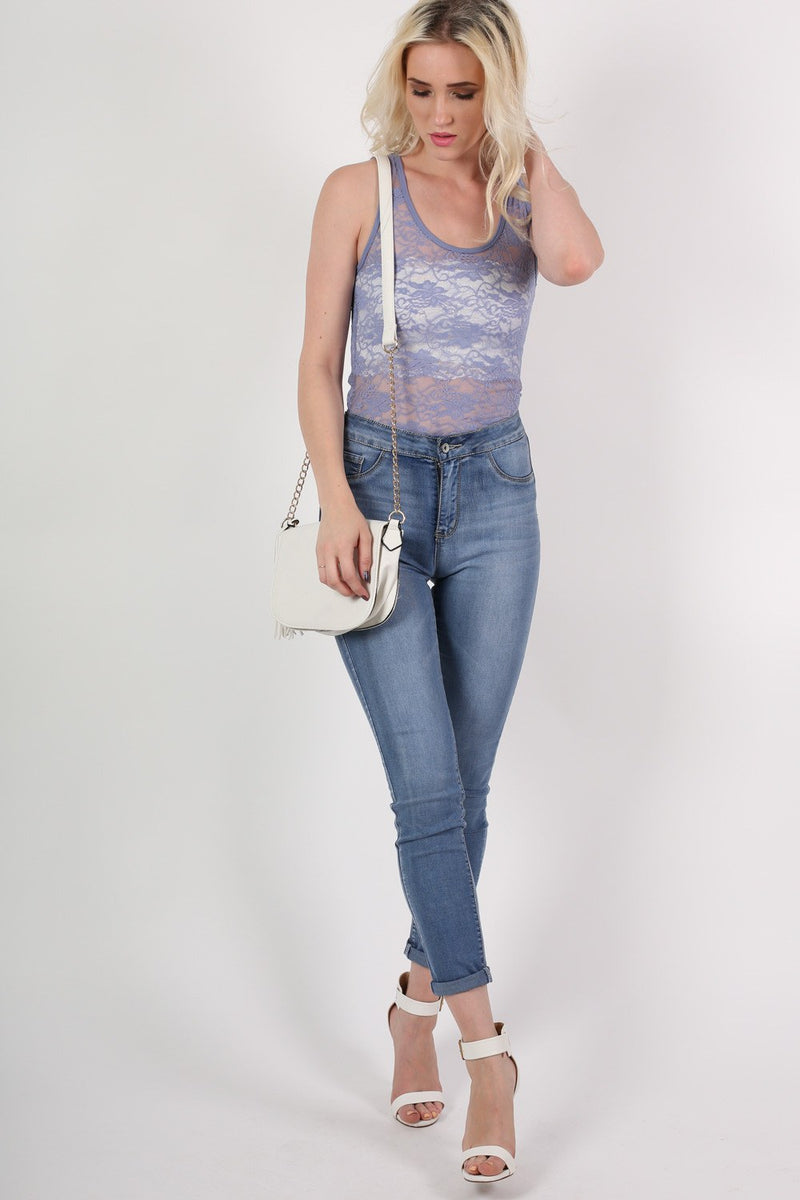 Floral Lace Print Vest Top in Denim Blue MODEL FRONT 2