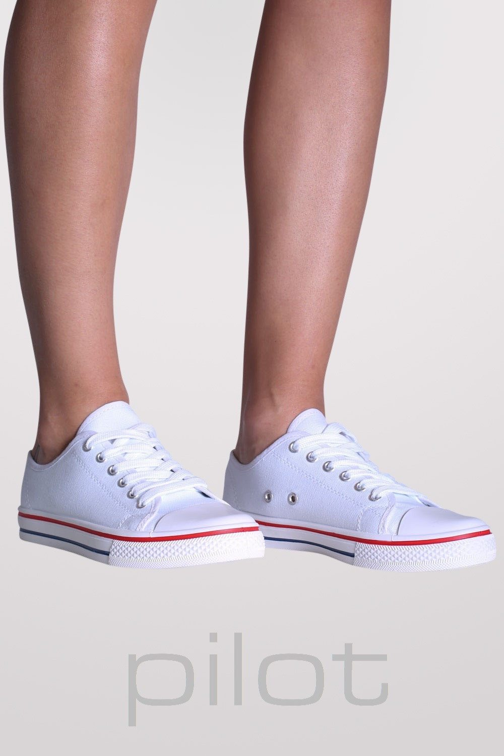 Canvas Lace Up Trainers in White MODEL FRONT