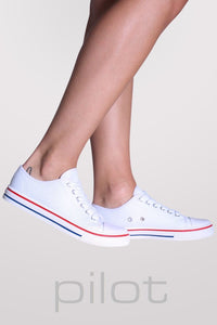 Canvas Lace Up Trainers in White MODEL SIDE