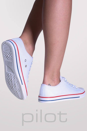 Canvas Lace Up Trainers in White MODEL BACK