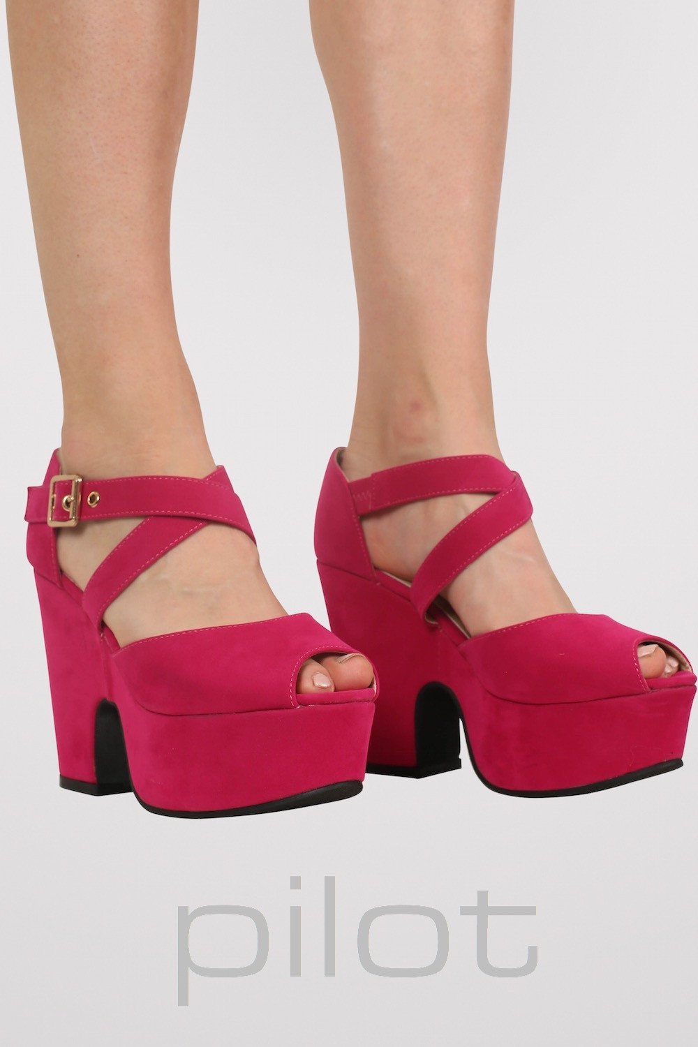 Cross Strap Low Demi Wedge Shoes in Pink MODEL FRONT