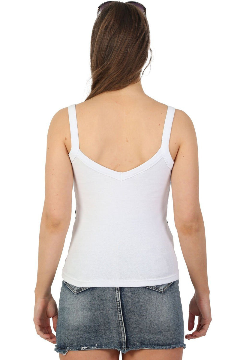 Strappy Double Side Stripe Trim Vest Top in White 4
