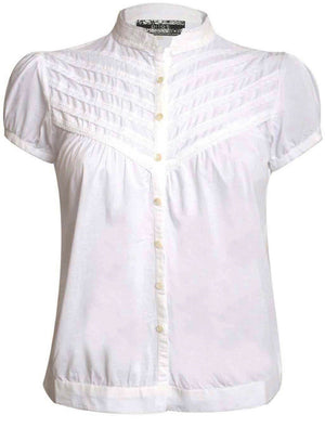 High Neck Cap Sleeve Button Front Blouse in White FRONT