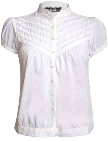High Neck Cap Sleeve Button Front Blouse in White