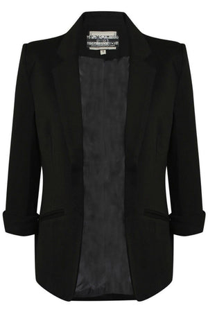 Open Front Blazer in Black FRONT
