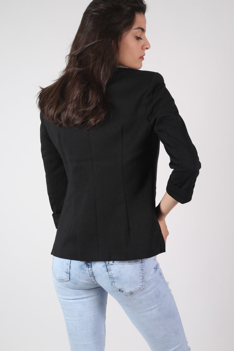 Open Front Blazer in Black MODEL BACK