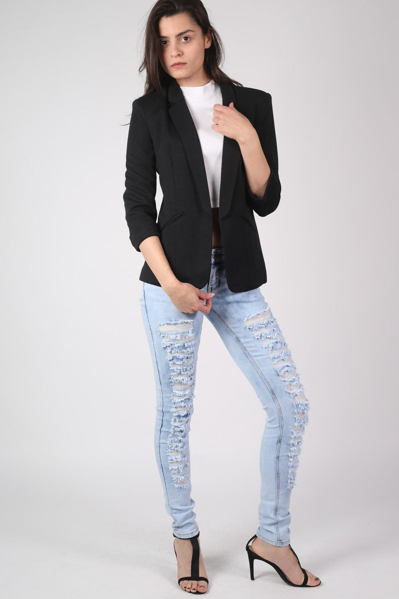 Open Front Blazer in Black MODEL FRONT 3