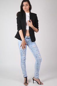 Open Front Blazer in Black MODEL FRONT 4