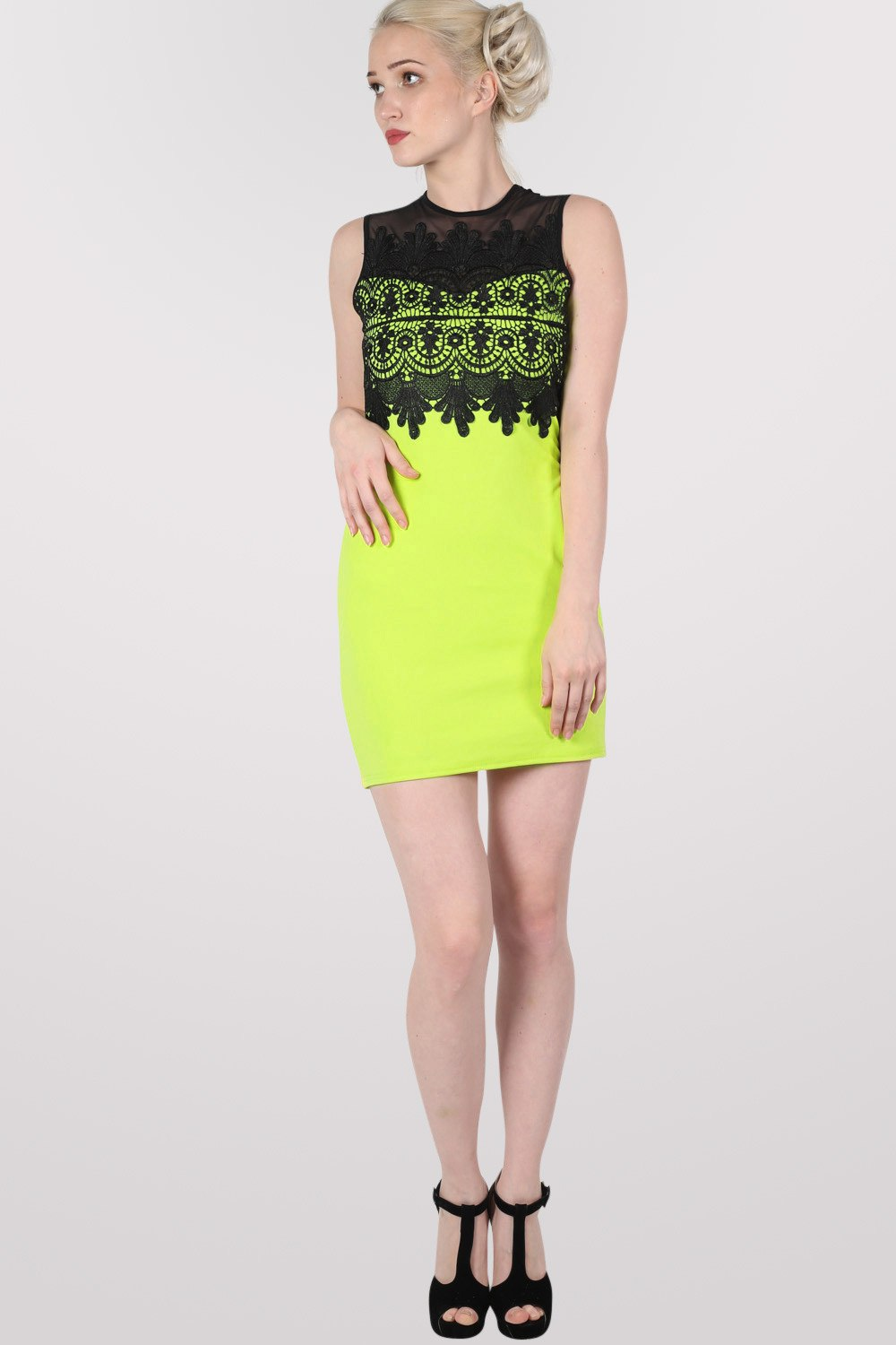 Lace And Mesh Trim Sleeveless Bodycon Dress in Lime Green MODEL FRONT