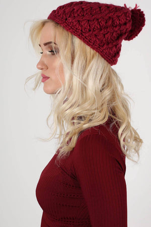 Chunky Knit Pompom Beanie Hat in Claret Red MODEL SIDE