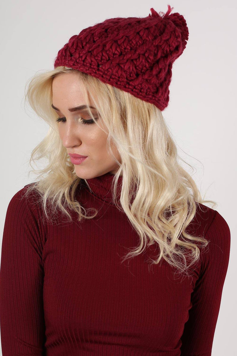 Chunky Knit Pompom Beanie Hat in Claret Red MODEL FRONT 2