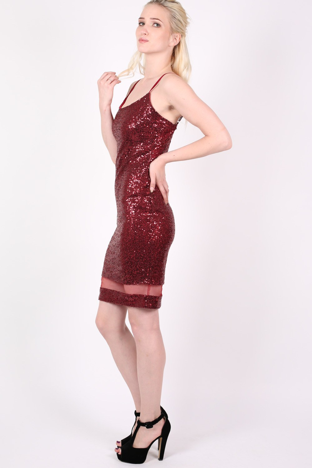 Strappy Sequin Mesh Panel Detail Bodycon Dress in Wine Red MODEL SIDE
