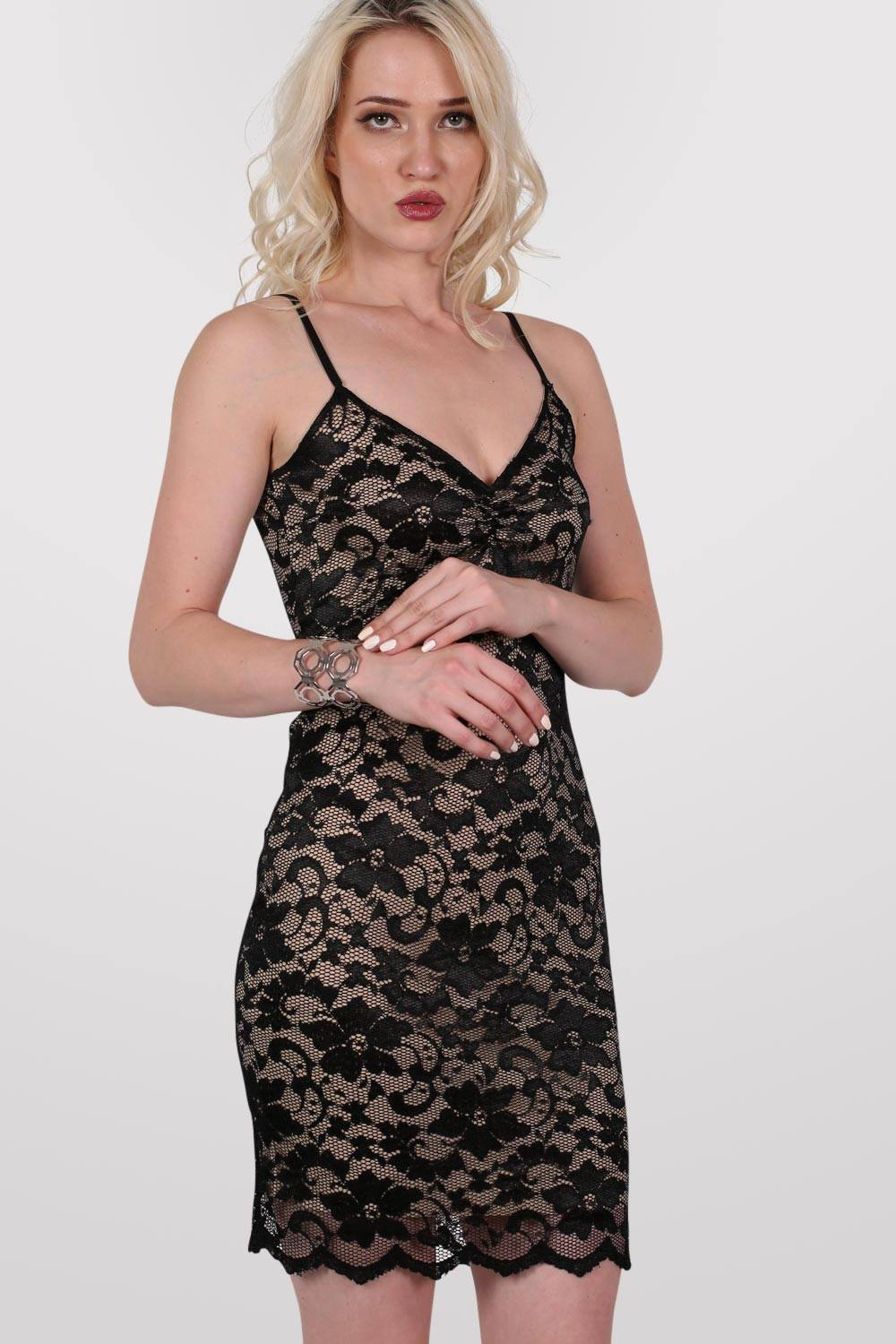 Floral Lace Strappy Bodycon Dress in Black MODEL FRONT