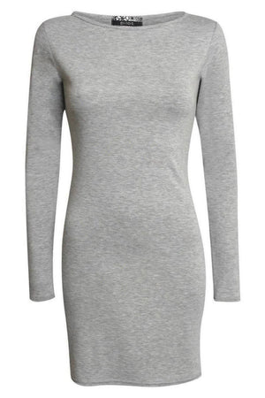 Plain Long Sleeve Bodycon Dress in Grey FRONT