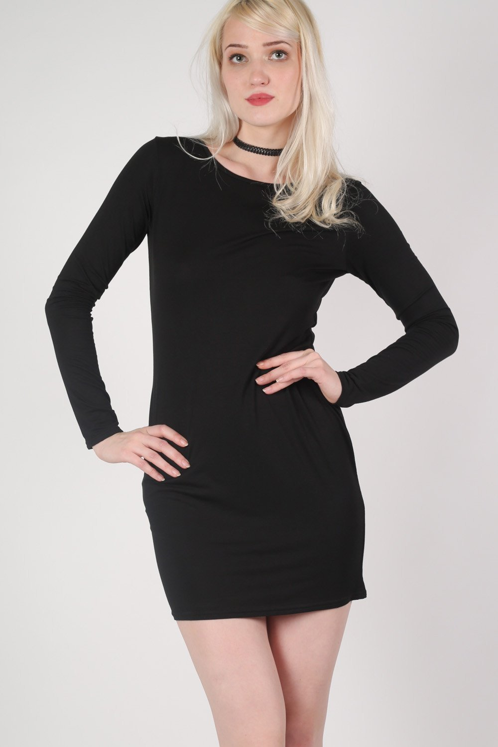 Plain Long Sleeve Bodycon Dress in Black MODEL FRONT