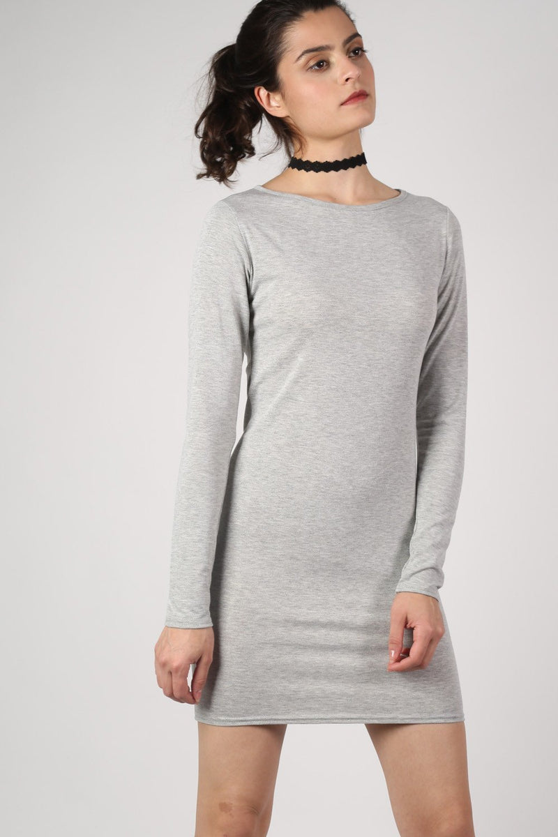 Plain Long Sleeve Bodycon Dress in Grey MODEL FRONT