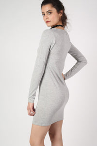 Plain Long Sleeve Bodycon Dress in Grey MODEL SIDE