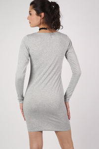 Plain Long Sleeve Bodycon Dress in Grey MODEL BACK
