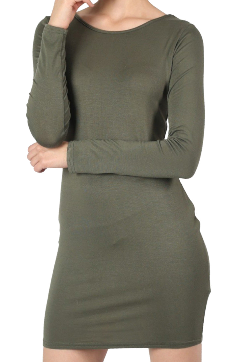 Plain Long Sleeve Bodycon Dress in Khaki Green