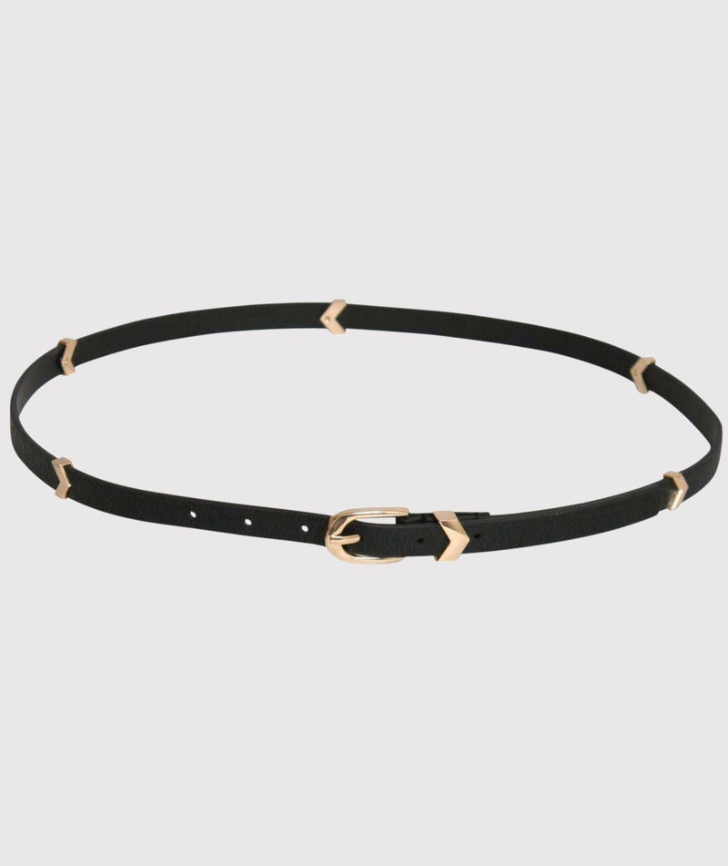 Metal Chevron Skinny Belt in Black FRONT