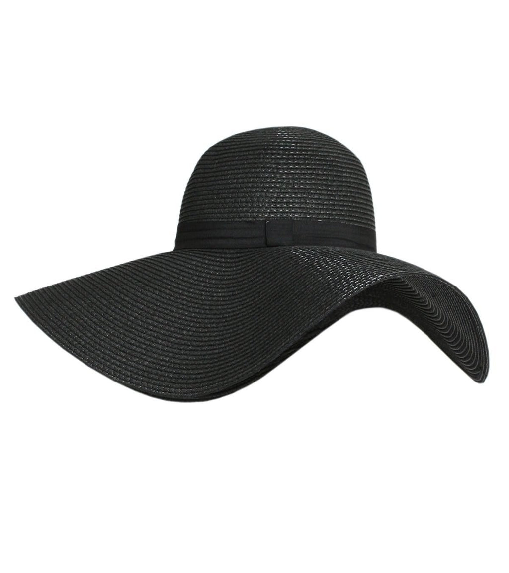 Wide Brim Straw Floppy Hat in Black FRONT