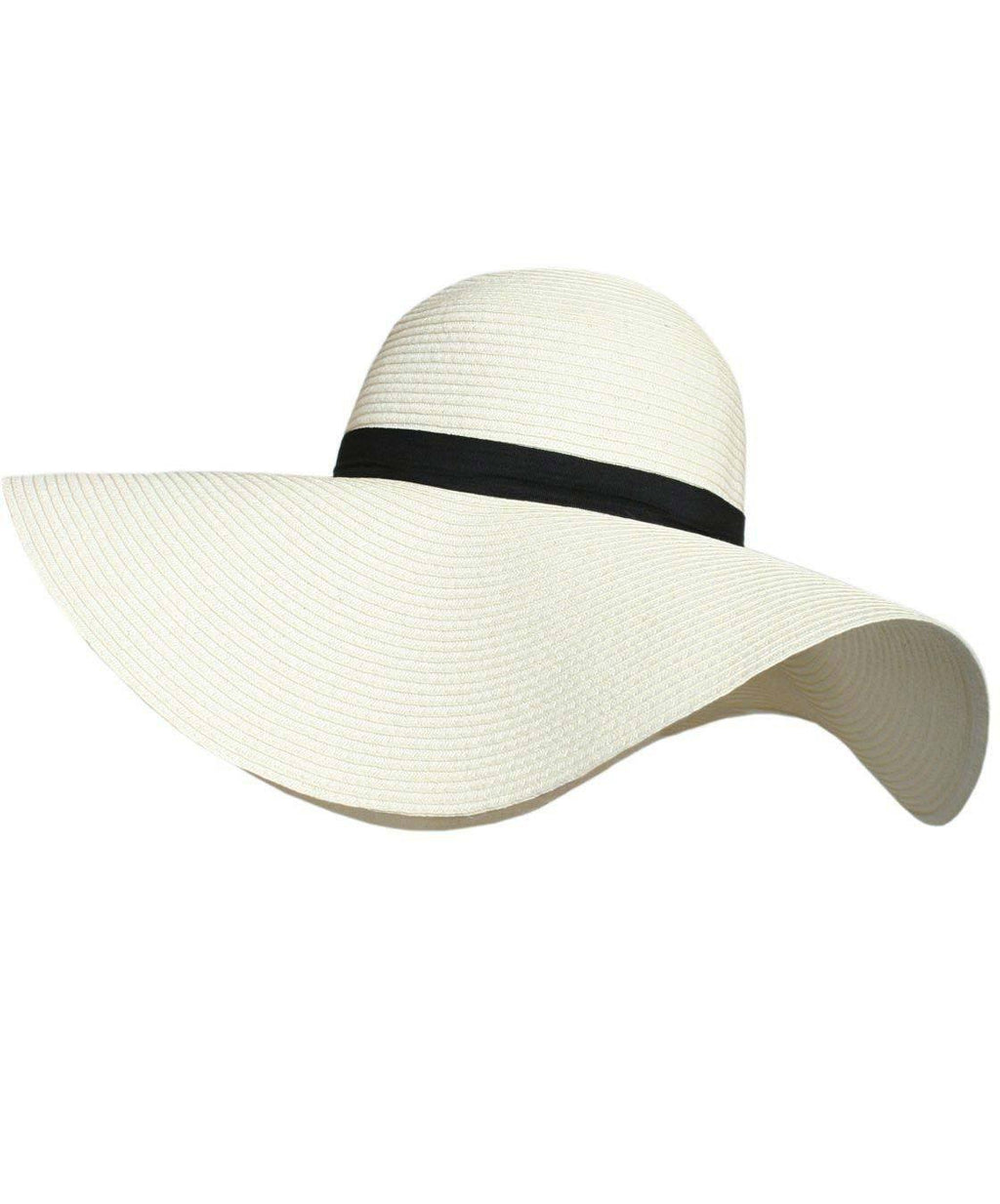 Wide Brim Straw Floppy Hat in Cream FRONT