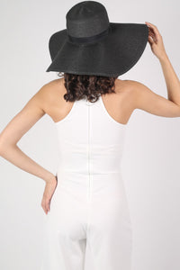 Wide Brim Straw Floppy Hat in Black MODEL BACK