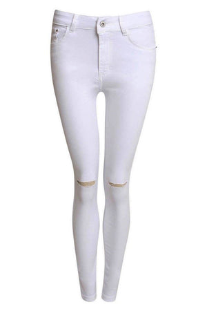High Waist Ripped Knee Skinny Jeans in White FRONT