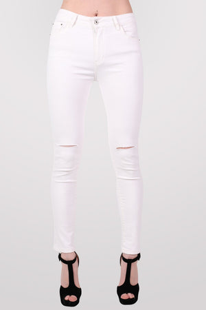 High Waist Ripped Knee Skinny Jeans in White MODEL FRONT 2