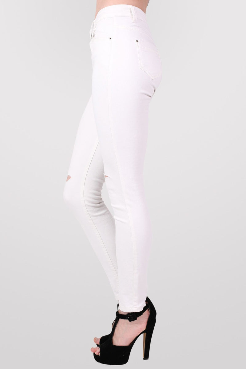 High Waist Ripped Knee Skinny Jeans in White MODEL SIDE